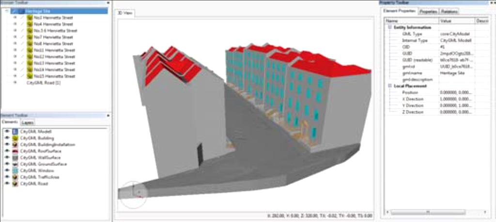 Appendix Figure 2.9: CityGML model showing semantic classes. Figure 2.10: Exterior view of the BIM model of the Casino in Ghent. Figure 2.13 : Geometric building components that are annotated to the 'central hall' of the Casino in Ghent.