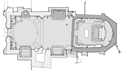 Chapter 3: Case Study-The Church of Santa Maria (Scaria, Italy) Figure 3.46: Part of the stratigraphy analysis were the different phases are visible in floor plan view screenshot from A.