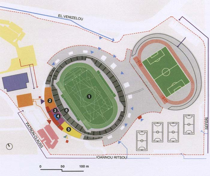 Παμπελοποννησιακό Στάδιο Main football field 68m x 107m and a 400-metres racetrack of 9 lanes Auxiliary football field, as well as a 400-metres racetrack of 8 lanes Επιφάνεια Οικοπέδου 155.