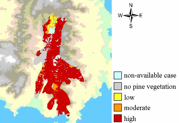 Maps of predicted landscape post-fire vulnerability (or resilience, vice-versa) Vulnerability map: risk for soil erosion Indicator