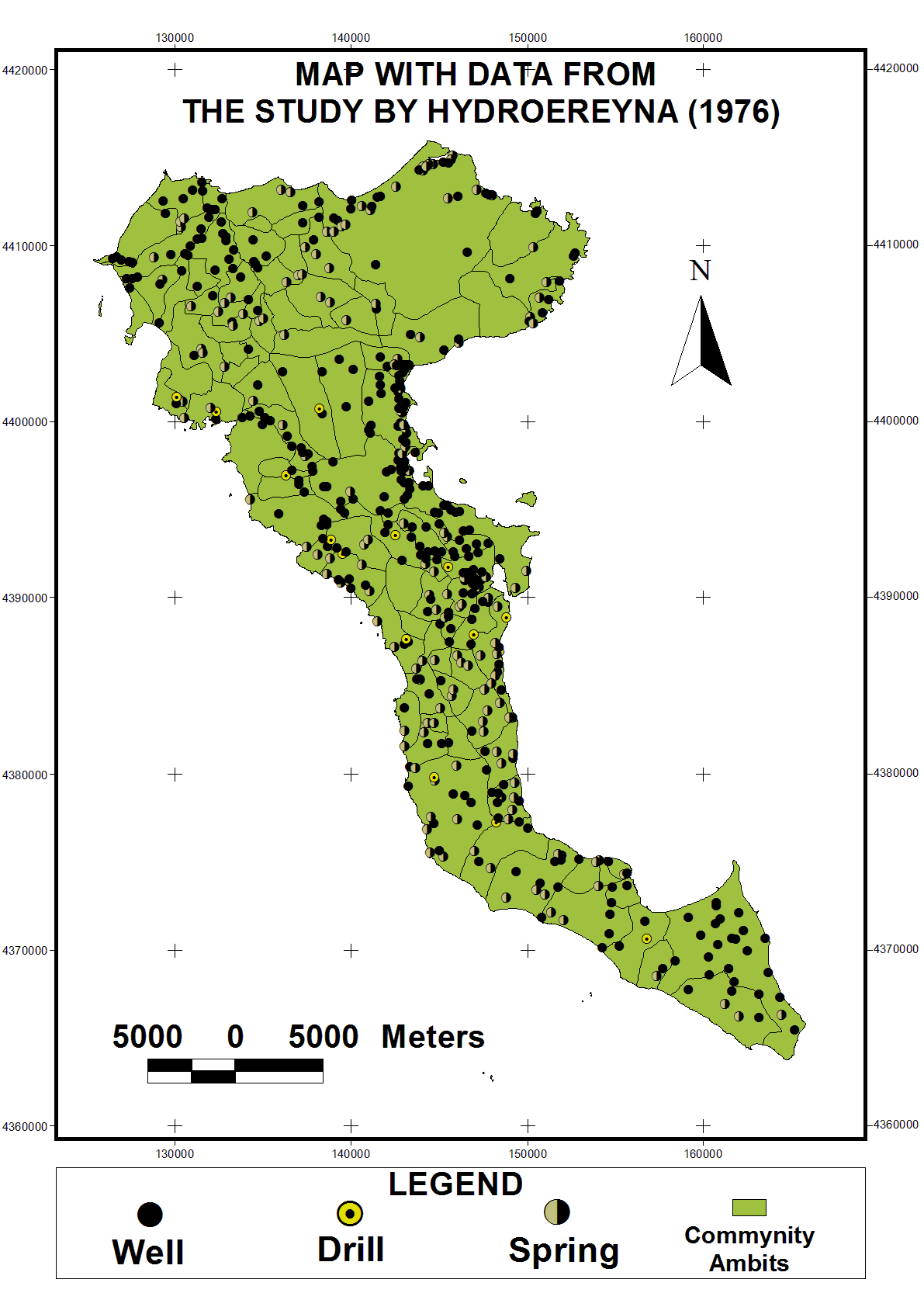 Map iii: Map with data from the study Hydrogeological