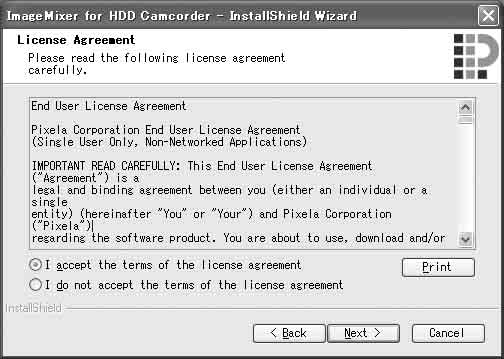 accept the terms of the license agreement] αν