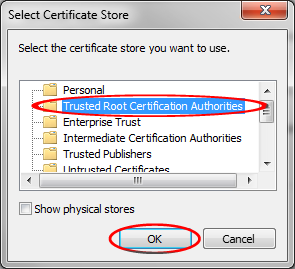 "SSL πιστοποιητικά Επιλέξτε ""Place all certificates in the following archive"" (Τοποθετήστε όλα τα πιστοποιητικά"