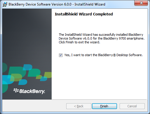 Επιλέξτε το Yes I want to start the BlackBerry Desktop Software και κάντε κλικ στο Finish.