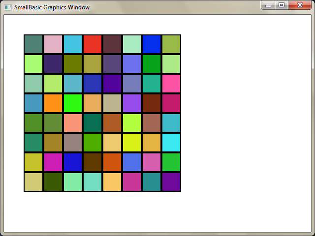 For c = 1 To columns GraphicsWindow.BrushColor = GraphicsWindow.GetRandomColor() boxes[r][c] = Shapes.AddRectangle(size, size) Shapes.