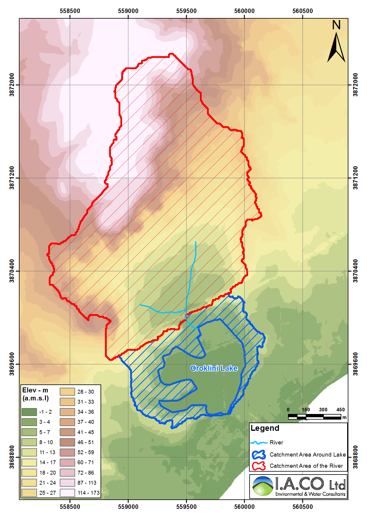 Map 2-2: Elevation map of the subcatchments around the streams