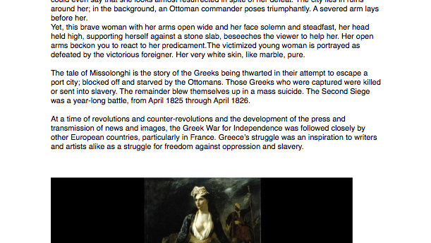News Articles Greek Independence/ Greece Expiring on the Ruins of Missolonghi painted by Eugene Delacroix in 1826.