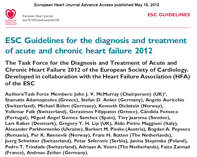 ESC Guidelines for the diagnosis and