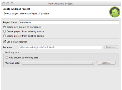 In Eclipse, choose File New Android Project