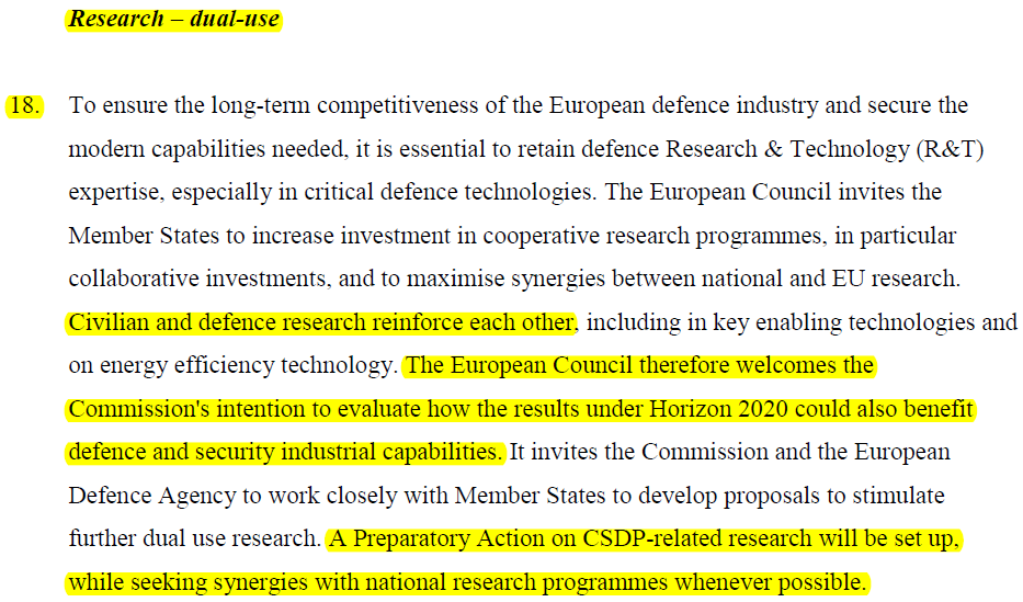 ! Right question: How can we achieve economies of scale, through combined civil & defence research (i.e. dual use applications) and civ/mil synergies, to support the CSDP?