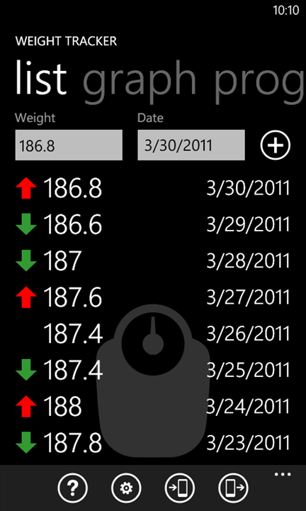 7. Weight Tracker (Windows Phone Marketplace) Σύνδεσμος: http://bit.