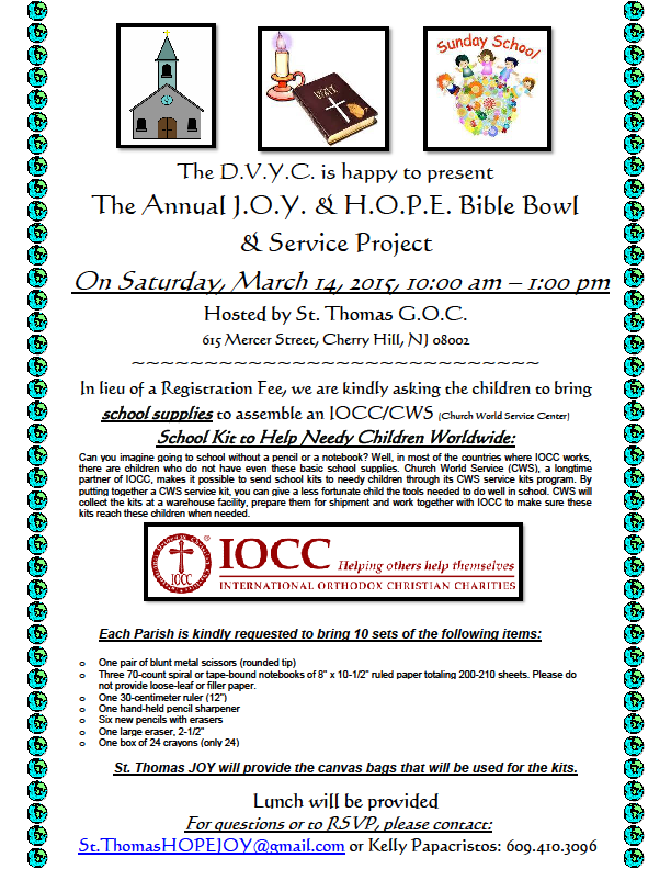 HOPE/JOY PARENTS: If your children plan to attend ~ please contact Julie