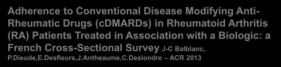 Adherence to Conventional Disease Modifying Anti- Rheumatic Drugs (cdmards) in Rheumatoid Arthritis (RA) Patients Treated in Association with a Biologic: a French Cross-Sectional Survey J-C Balblanc,