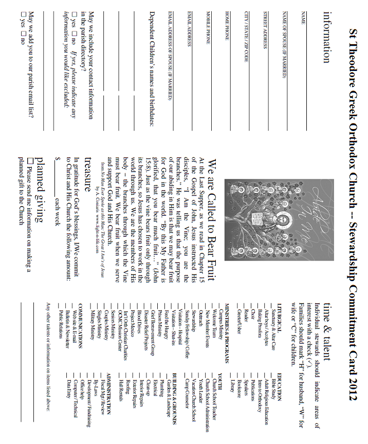 Volume 4, Issue 1 Page 7 Please find below the 2012 Stewardship Commitment Card for St. Theodore s Church.