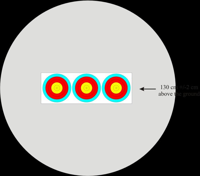 Indoor 1 x 3 Horizontal Triple Target Face for Indoor Team event - shoot-off (see image 16: 1