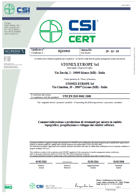STONEX ISO certificate : 2014, STONEX Limited. All rights reserved.