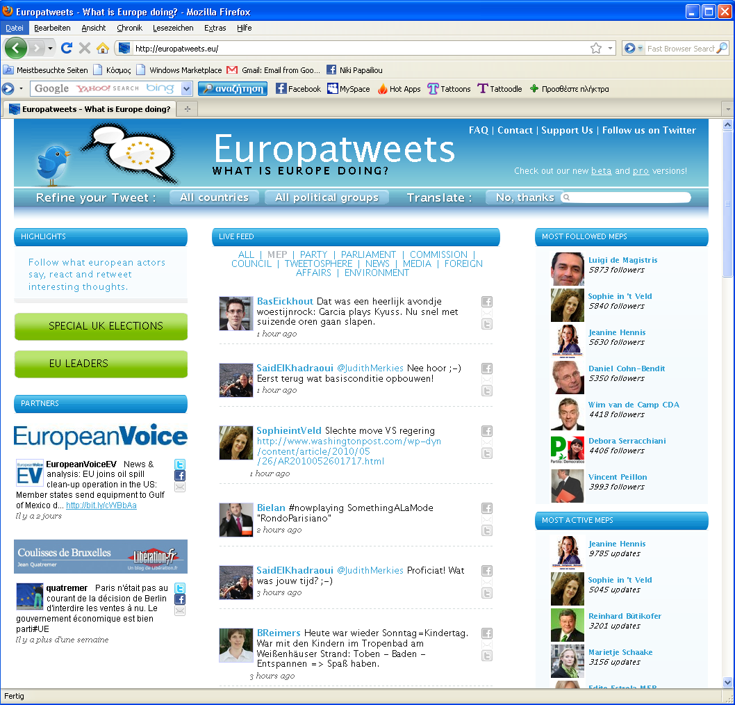 86 europatweets.eu Μέζσ ηεο ζειίδαο Europatweets (http://europatweets.