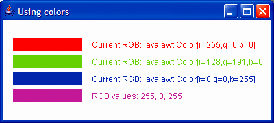 1 // Fig. 12.6: ShowColors.java 2 // Demonstrating Colors. 3 import javax.swing.