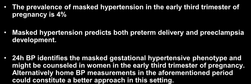 Conclusions The prevalence of masked hypertension in the early third trimester of pregnancy is 4% Masked hypertension predicts both preterm delivery and preeclampsia development.