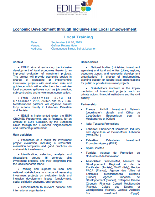 Septembre 9, 2015 Economic Development