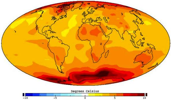 Climate change Expected increase of earth