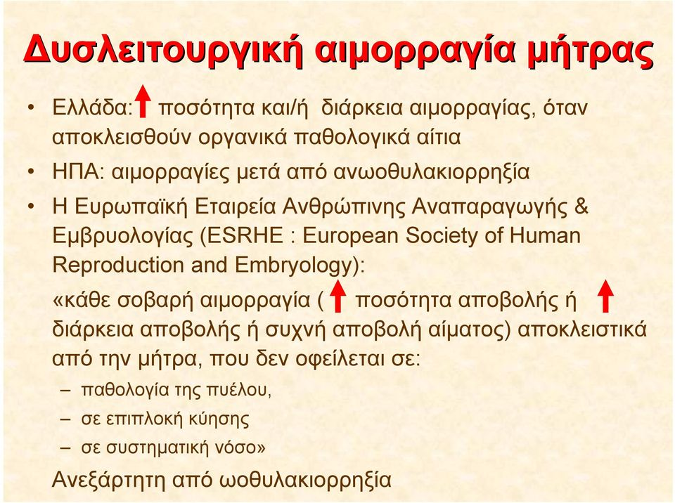 Human Reproduction and Embryology): «κάθε σοβαρή αιμορραγία ( ποσότητα αποβολής ή διάρκεια αποβολής ή συχνή αποβολή αίματος)