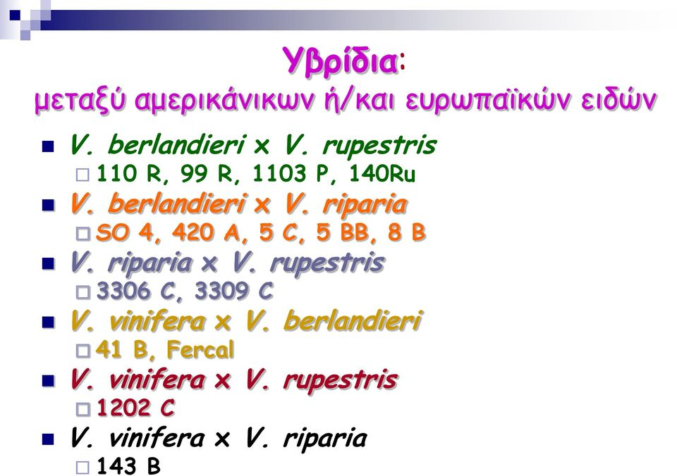 riparia SO 4, 420 A, 5 C, 5 BB, 8 B V. riparia x V.