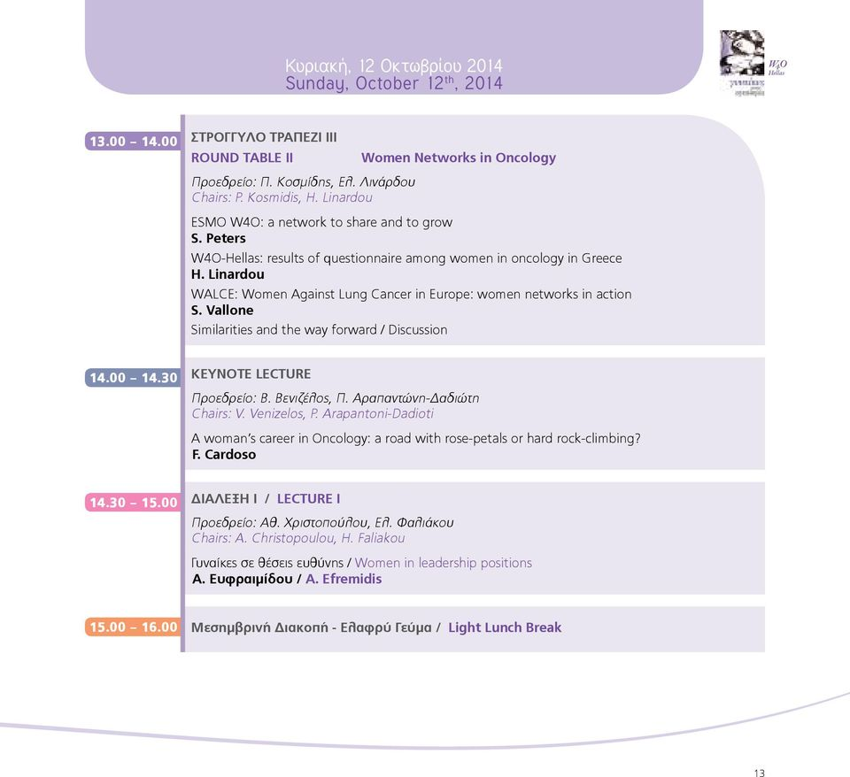 Linardou WALCE: Women Against Lung Cancer in Europe: women networks in action S. Vallone Similarities and the way forward / Discussion 14.00 14.30 Keynote Lecture Προεδρείο: Β. Βενιζέλος, Π.