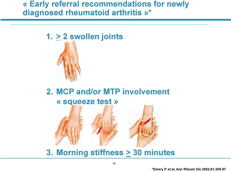 MCP and/or MTP involvement «squeeze test» 3.