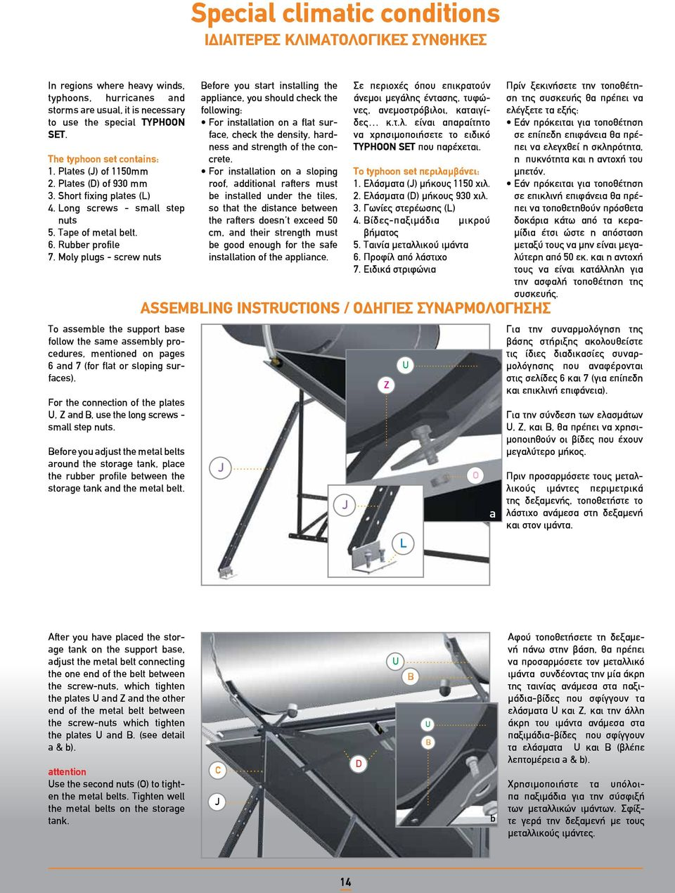 Moly plugs - screw nuts To assemble the support base follow the same assembly procedures, mentioned on pages 6 and 7 (for flat or sloping surfaces).