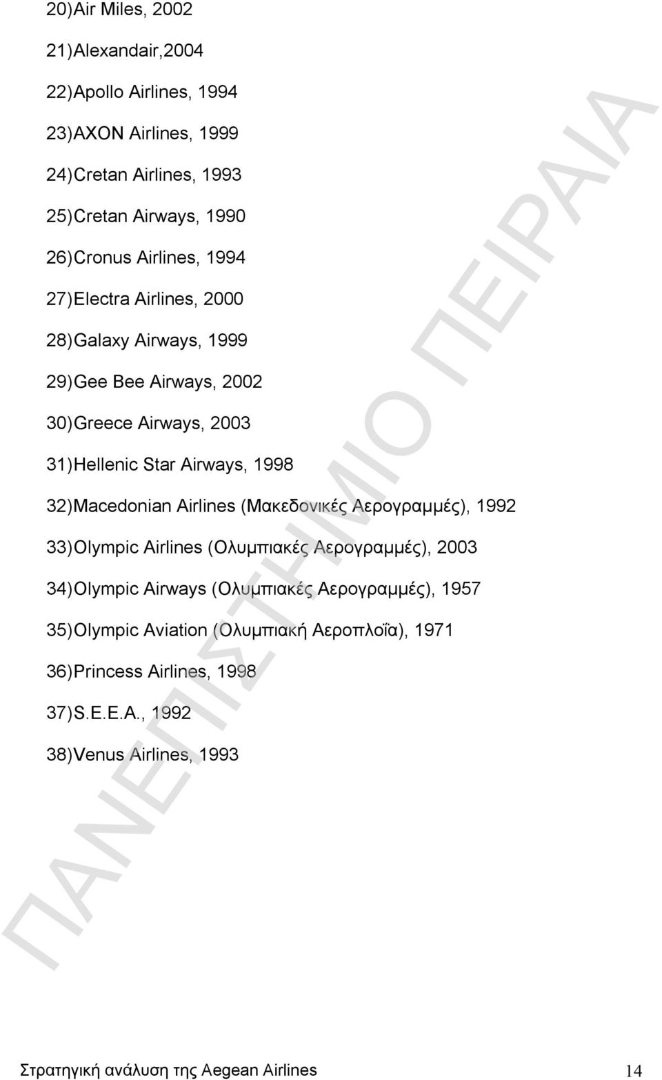 Macedonian Airlines (Μακεδονικές Αερογραμμές), 1992 33) Olympic Airlines (Ολυμπιακές Αερογραμμές), 2003 34) Olympic Airways (Ολυμπιακές Αερογραμμές), 1957