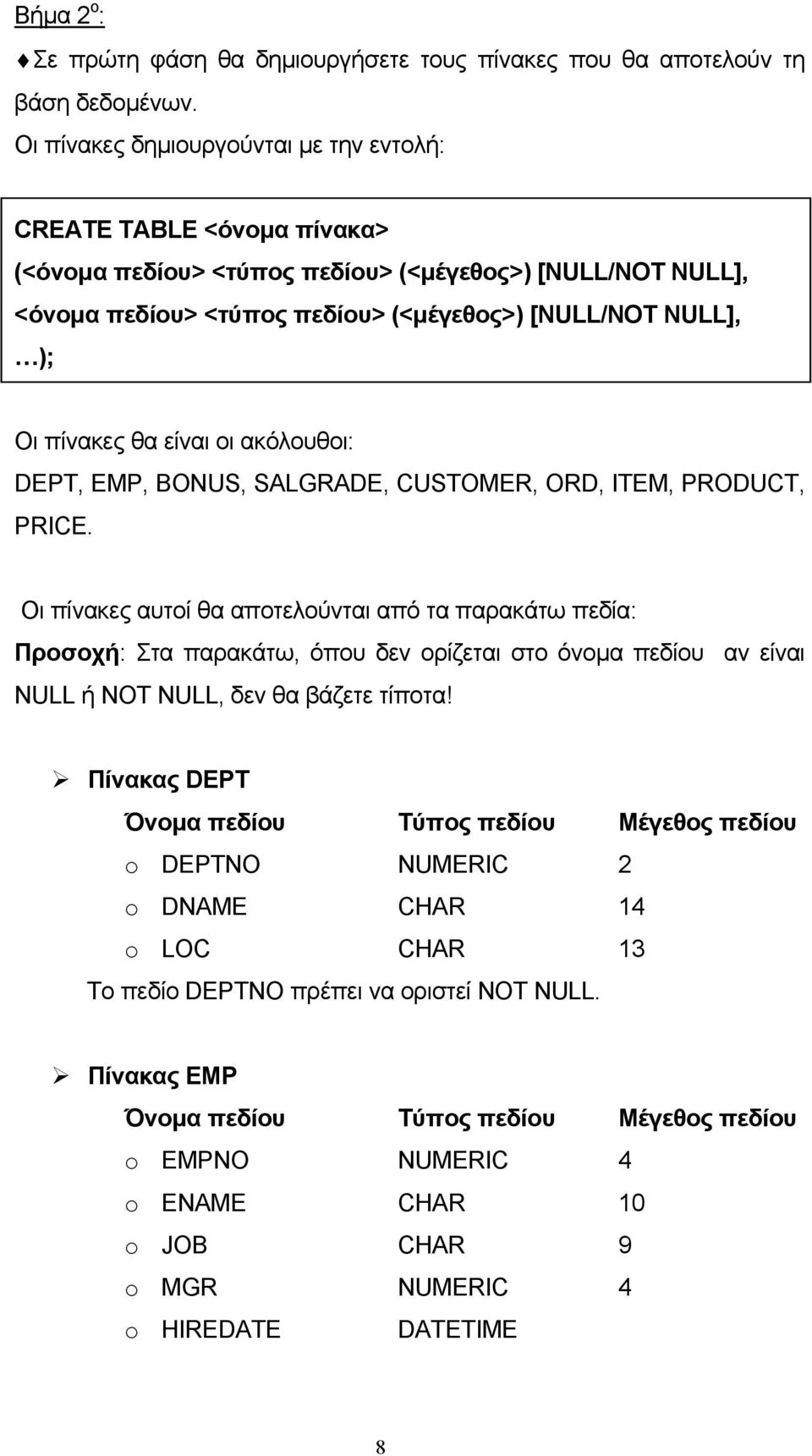 πίνακες θα είναι οι ακόλουθοι: DEPT, EMP, BONUS, SALGRADE, CUSTOMER, ORD, ITEM, PRODUCT, PRICE.