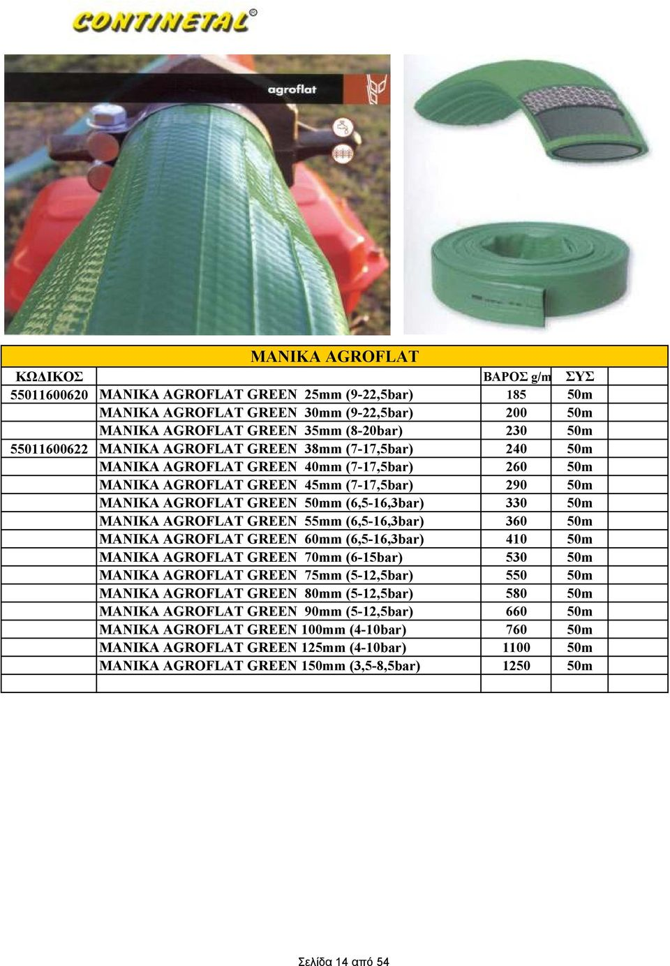GREEN 55mm (6,5-16,3bar) 360 50m ΜΑΝΙΚΑ AGROFLAT GREEN 60mm (6,5-16,3bar) 410 50m ΜΑΝΙΚΑ AGROFLAT GREEN 70mm (6-15bar) 530 50m ΜΑΝΙΚΑ AGROFLAT GREEN 75mm (5-12,5bar) 550 50m ΜΑΝΙΚΑ AGROFLAT GREEN