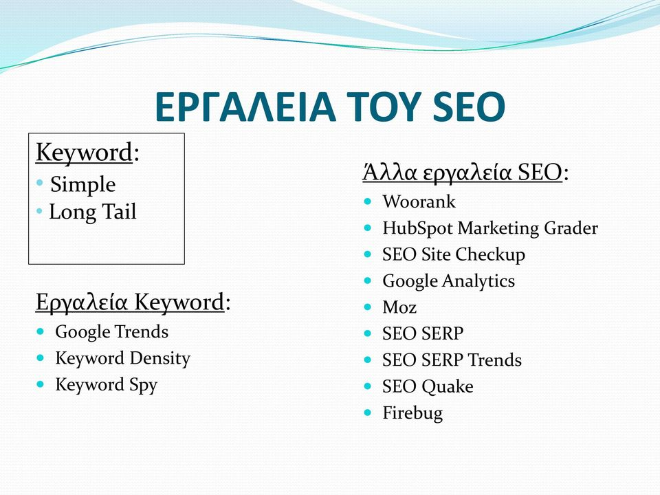 εργαλεία SEO: Woorank HubSpot Marketing Grader SEO Site