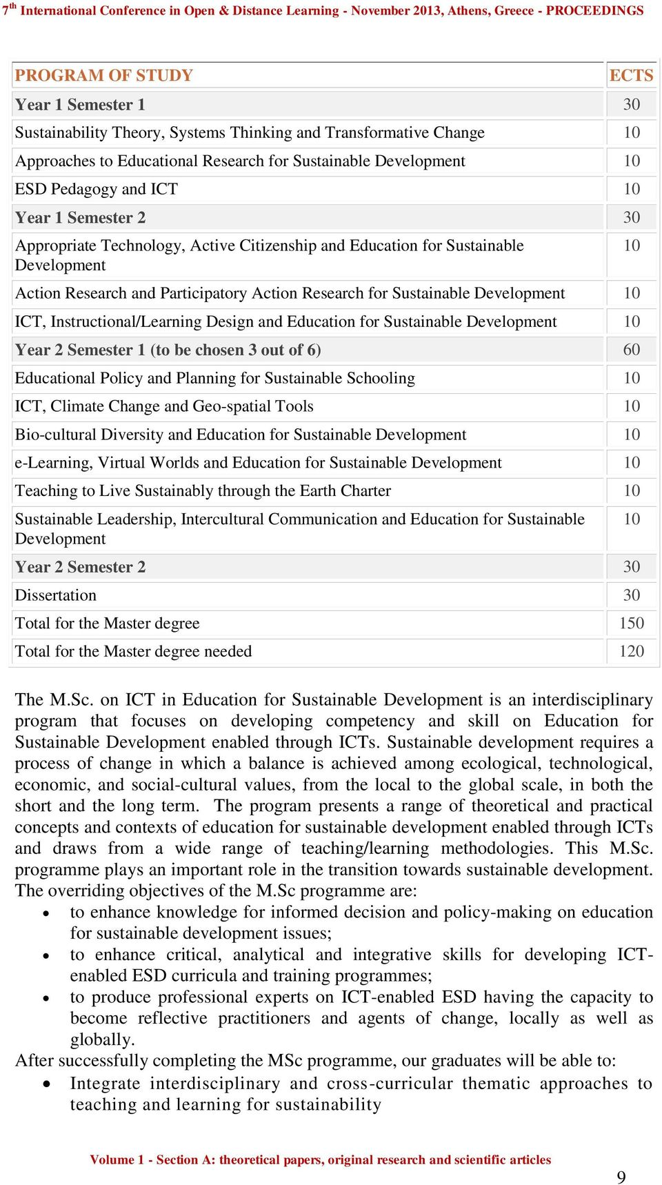 Instructional/Learning Design and Education for Sustainable Development 10 Year 2 Semester 1 (to be chosen 3 out of 6) 60 Educational Policy and Planning for Sustainable Schooling 10 ICT, Climate
