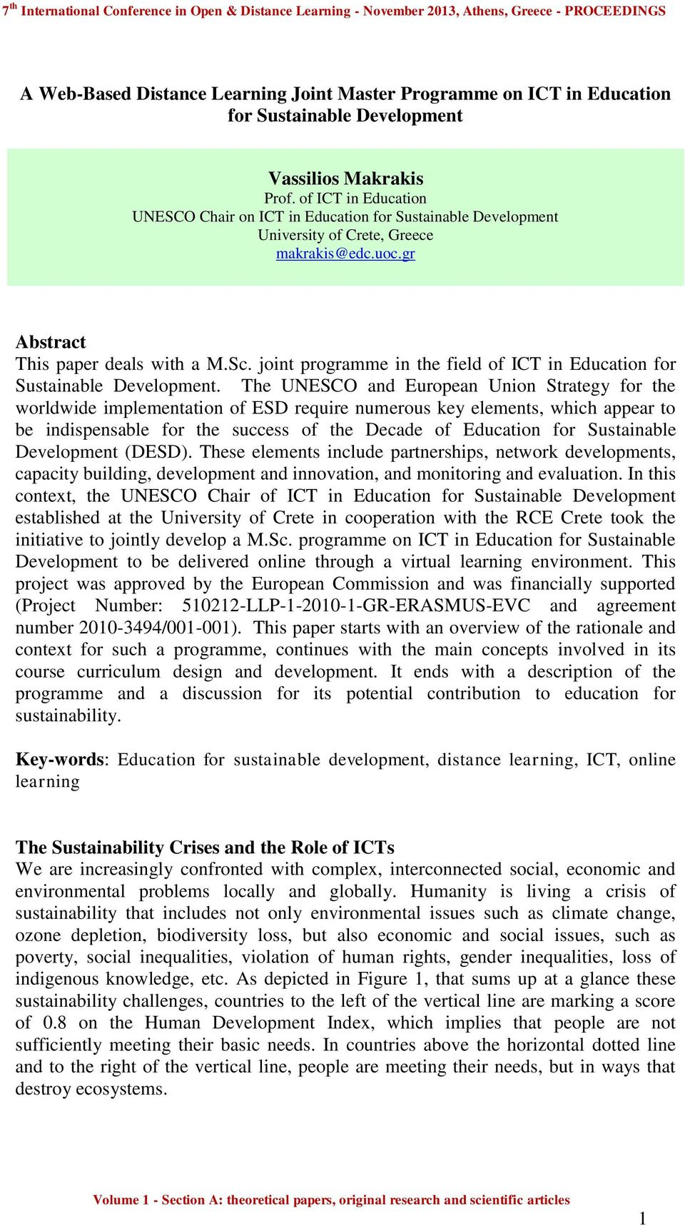 joint programme in the field of ICT in Education for Sustainable Development.