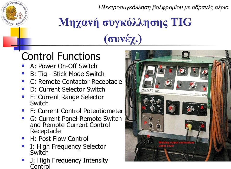 Receptacle D: Current Selector Switch E: Current Range Selector Switch F: Current Control