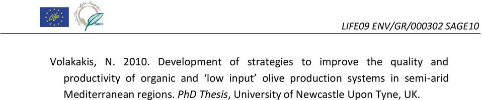 productivity of organic and low input olive production systems