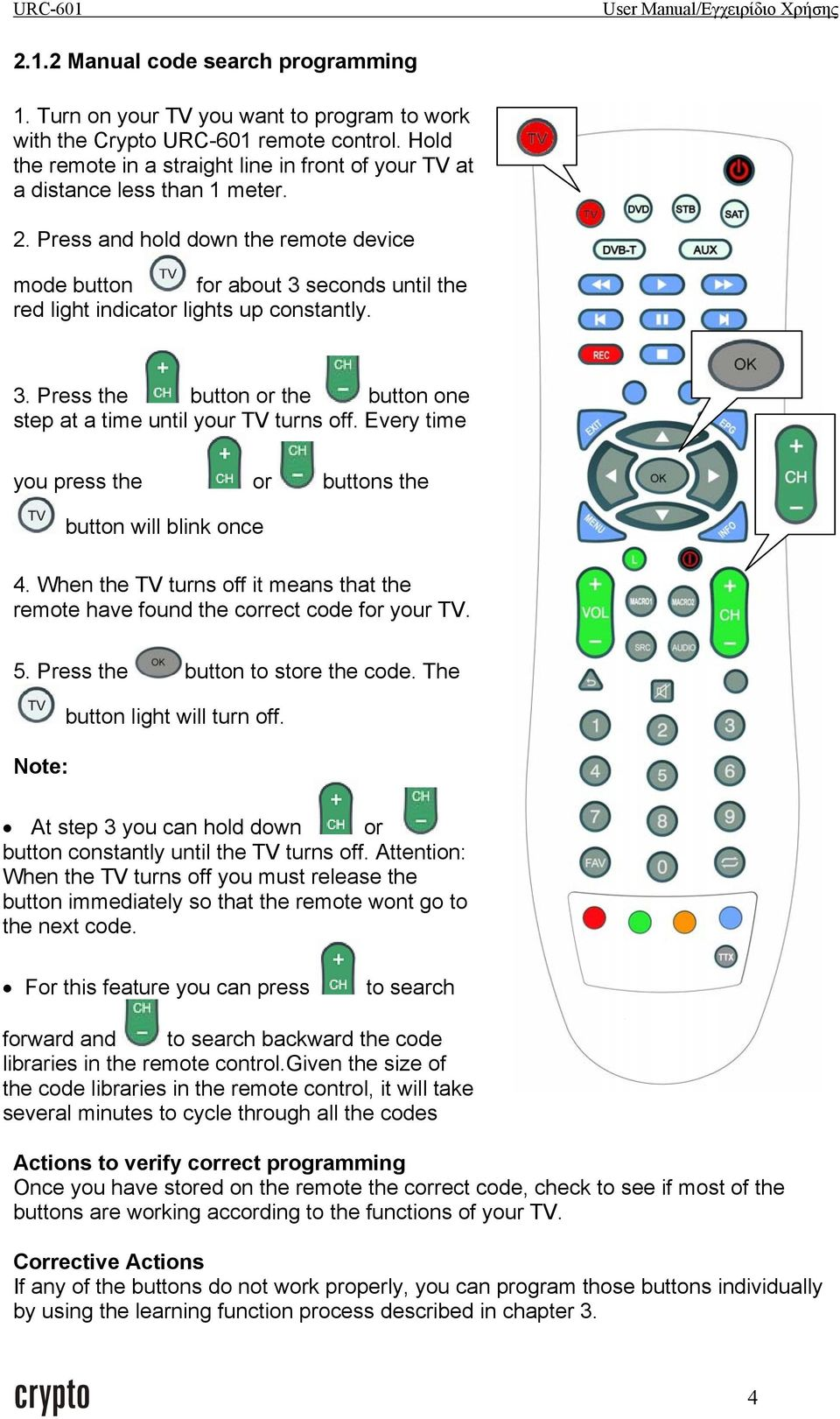 Press and hold down the remote device mode button for about 3 seconds until the red light indicator lights up constantly. 3. Press the button or the button one step at a time until your TV turns off.