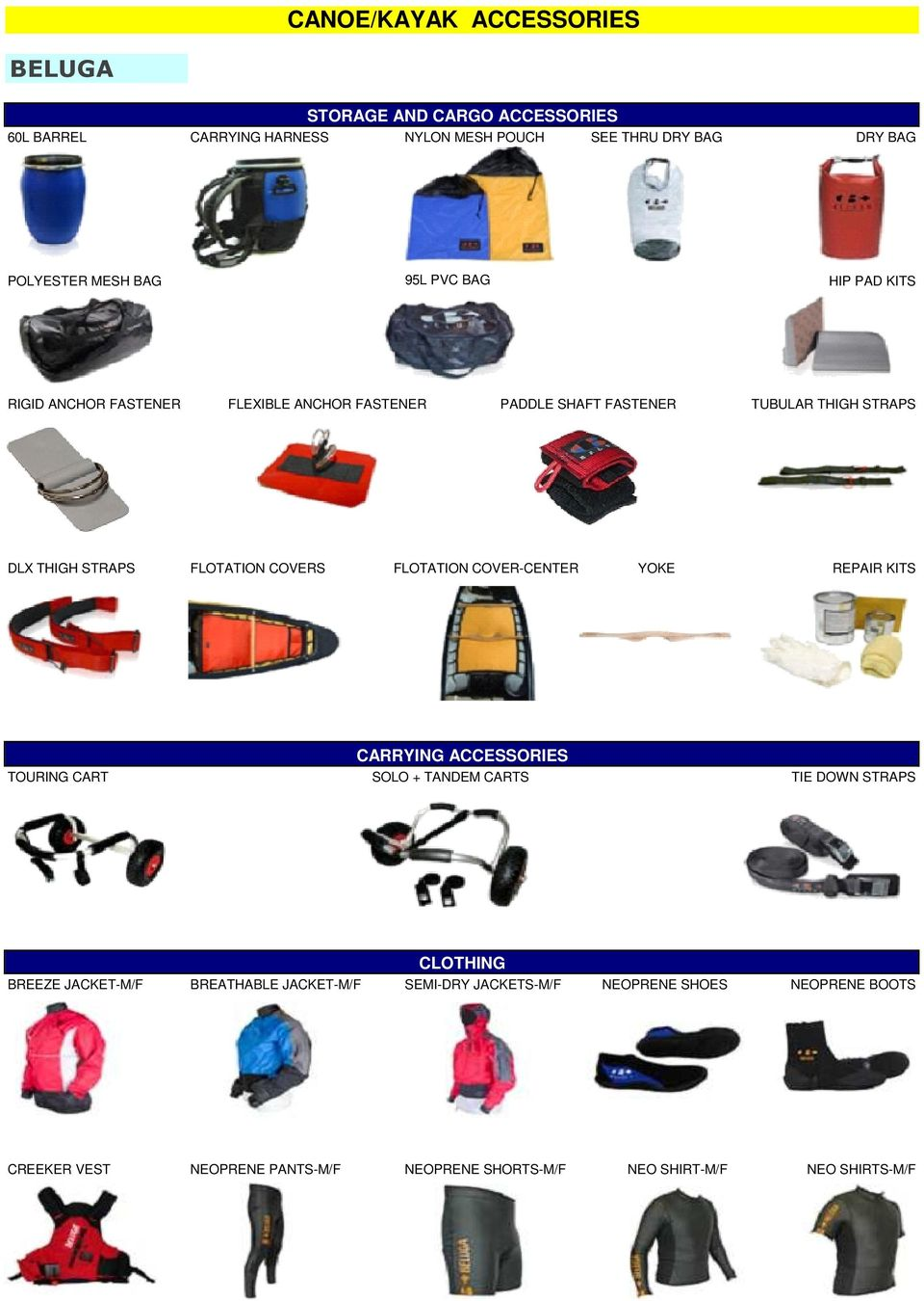 COVERS FLOTATION COVER-CENTER YOKE REPAIR KITS CARRYING ACCESSORIES TOURING CART SOLO + TANDEM CARTS TIE DOWN STRAPS CLOTHING BREEZE JACKET-M/F