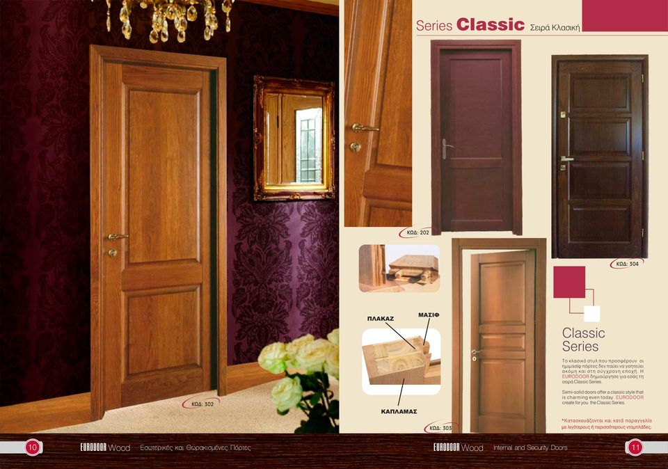 Η EURODOOR δηµιούργησε για εσάς τη σειρά Classic. Semi-solid doors offer a classic style that is charming even today.