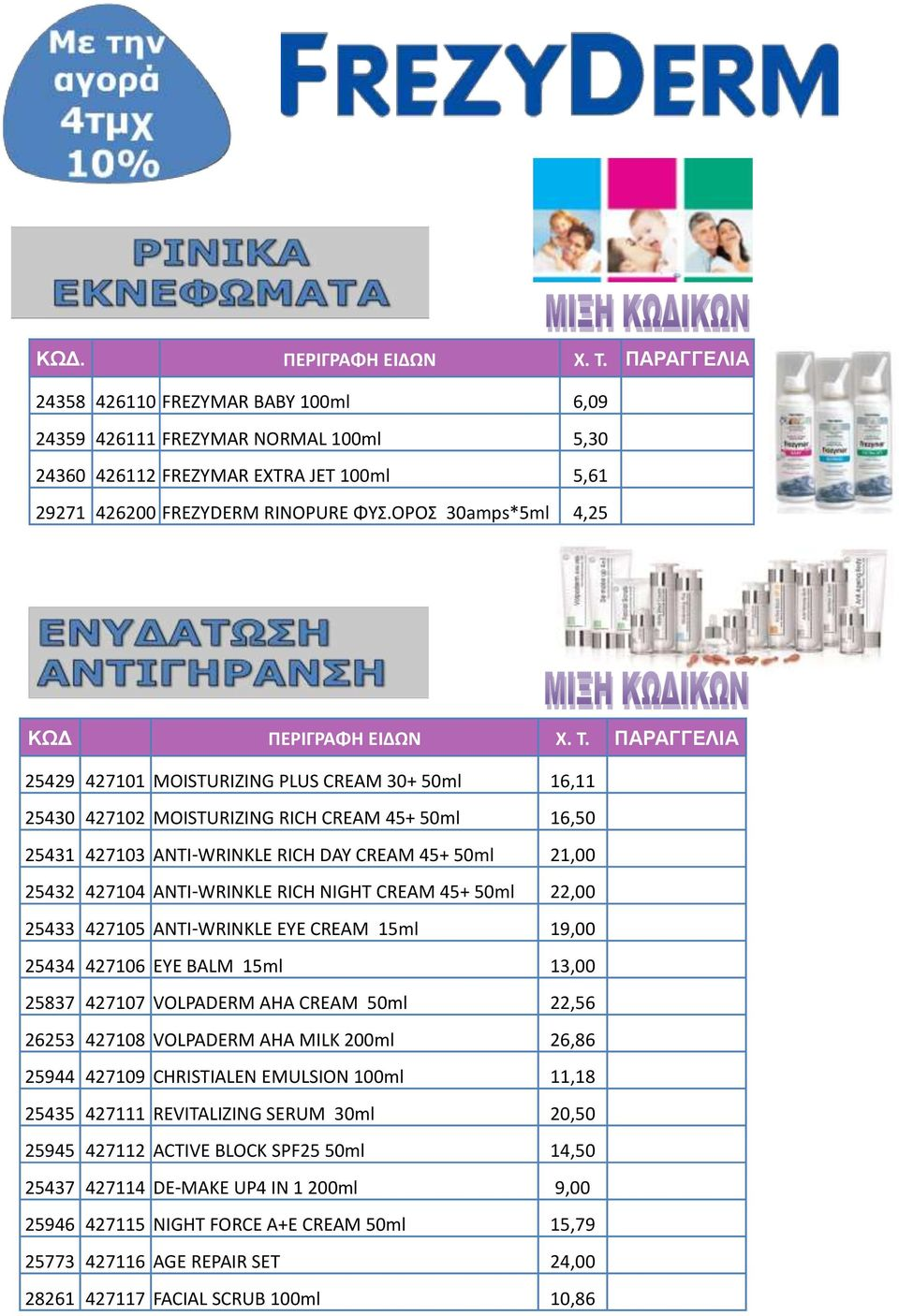 ΠΑΡΑΓΓΕΛΙΑ 25429 427101 MOISTURIZING PLUS CREAM 30+ 50ml 16,11 25430 427102 MOISTURIZING RICH CREAM 45+ 50ml 16,50 25431 427103 ANTI-WRINKLE RICH DAY CREAM 45+ 50ml 21,00 25432 427104 ANTI-WRINKLE