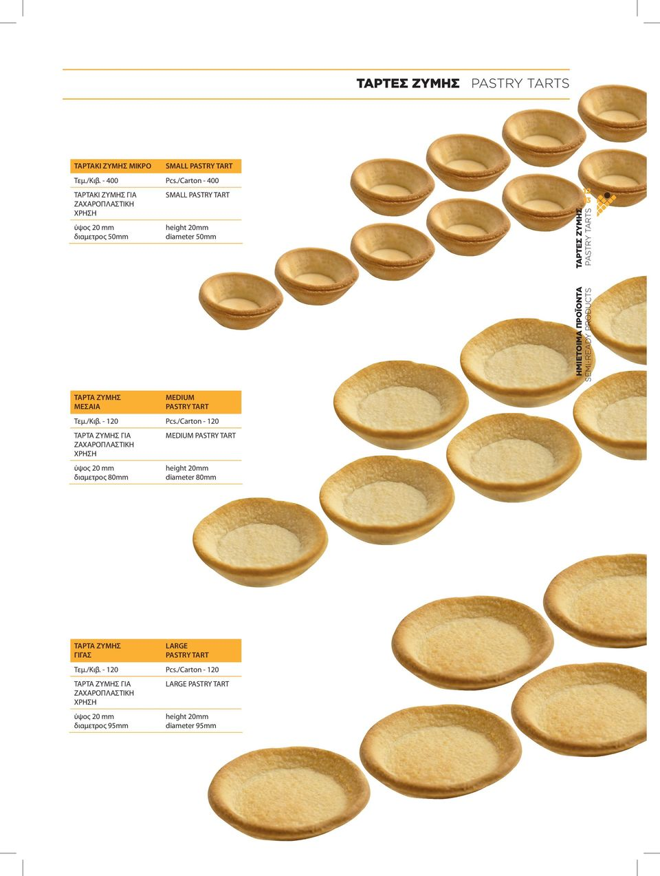 SEMI-READY PRODUCTS PASTRY TARTS ΤΑΡΤΑ ΖΥΜΗΣ ΜΕΣΑΙΑ MEDIUM PASTRY TART Τεμ./Κιβ. - 120 Pcs.