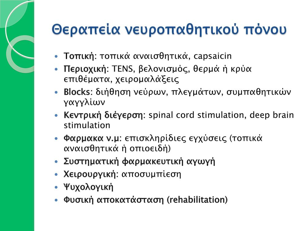 spinal cord stimulation, deep brain stimulation Φαρµακα ν.