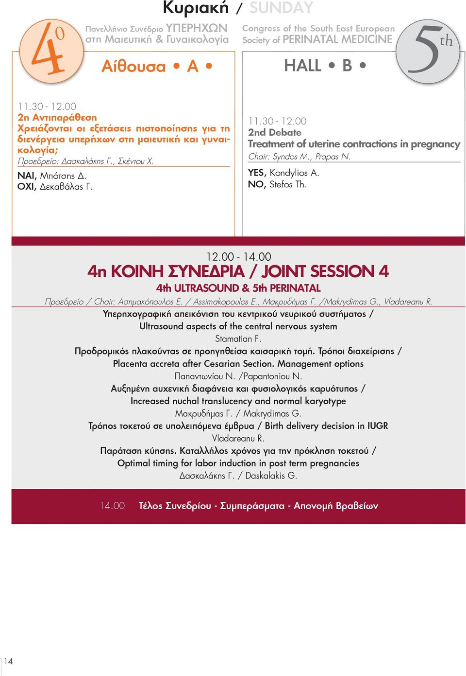 00 2nd Debate treatment of uterine contractions in pregnancy Chair: Syndos M., Prapas N. YES, Kondylios A. NO, Stefos Th. 12.00-14.