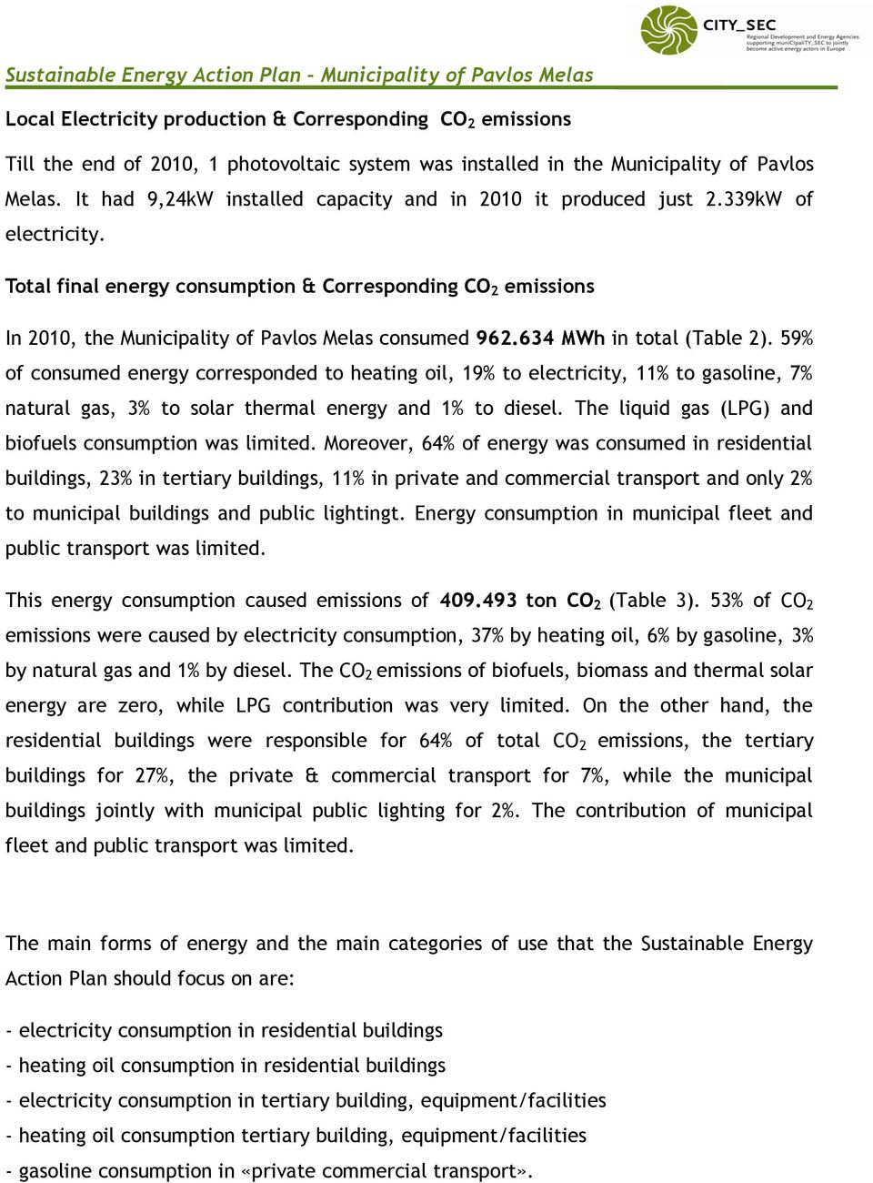 Total final energy consumption & Corresponding CO 2 emissions In 2010, the Municipality of Pavlos Melas consumed 962.634 MWh in total (Table 2).