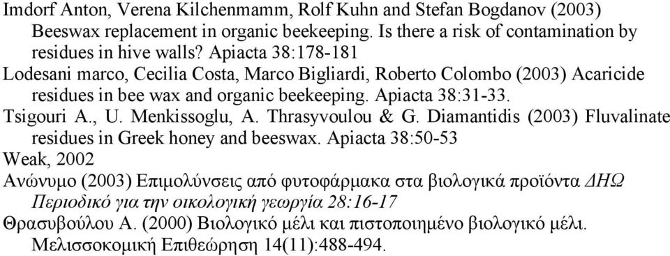 Menkissoglu, A. Thrasyvoulou & G. Diamantidis (2003) Fluvalinate residues in Greek honey and beeswax.