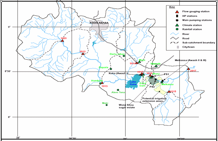 Figure 2.1.Some features of the uplands and Upper awash Valley 2.4.2. Water availability.