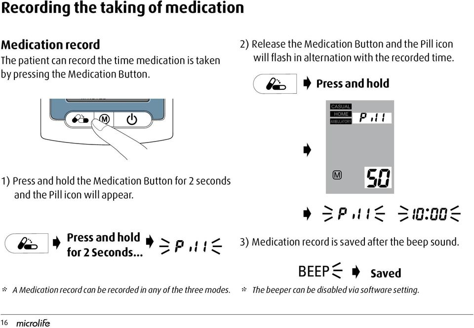 Press and hold 1) Press and hold the Medication Button for 2 seconds and the Pill icon will appear. Press and hold for 2 Seconds.
