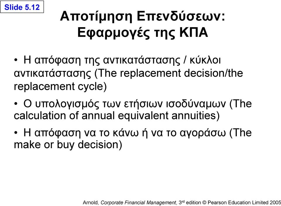 κύκλοι αντικατάστασης (The replacement decision/the replacement cycle) Ο